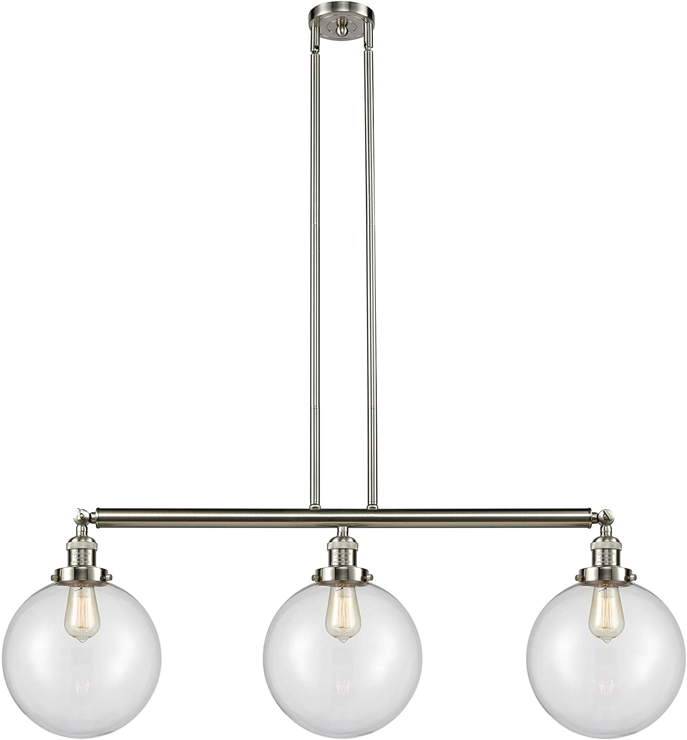Innovations 213-SN-S-G202-10 X-Large Beacon 3 Island Light Part of The Franklin Restoration Collection, Brushed Satin Nickel