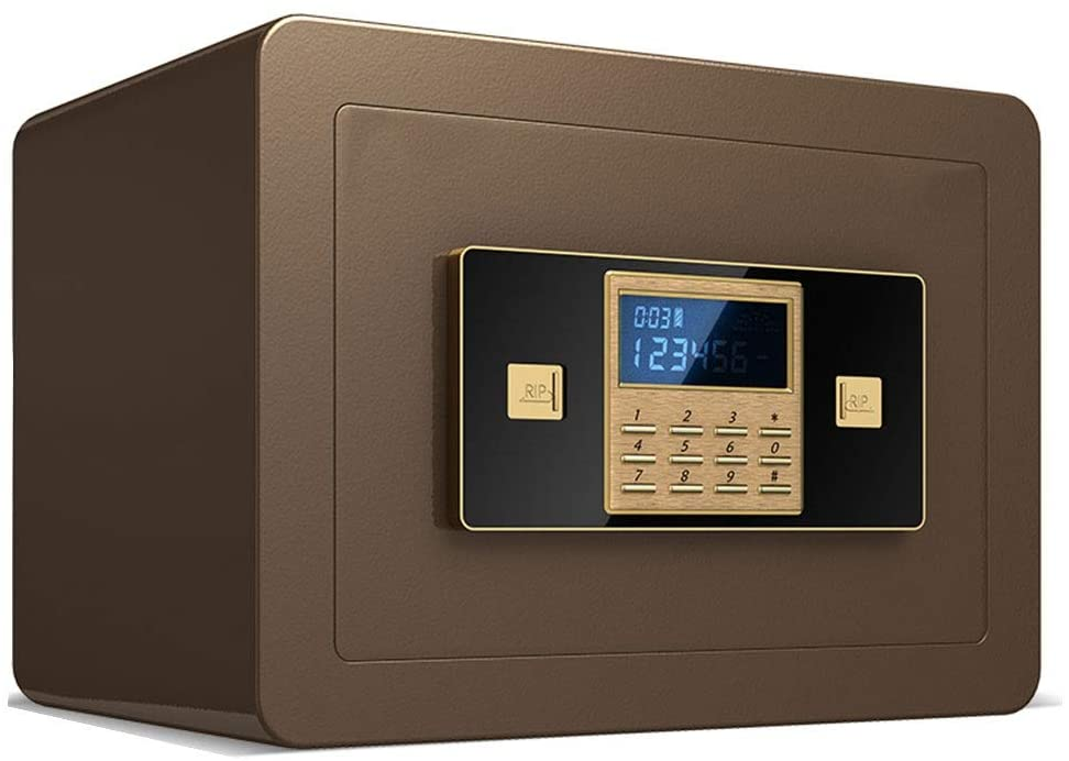 Safes Safety Steel Electronic Liquid Crystal Display Password Key Lock Steel Money Box 352525cm Safes (Color : Brown)