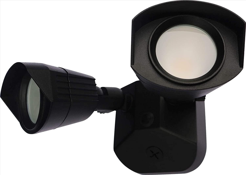 NUVO 65/220 Head Security LED Security Light Dual Head Black Finish, 4000K
