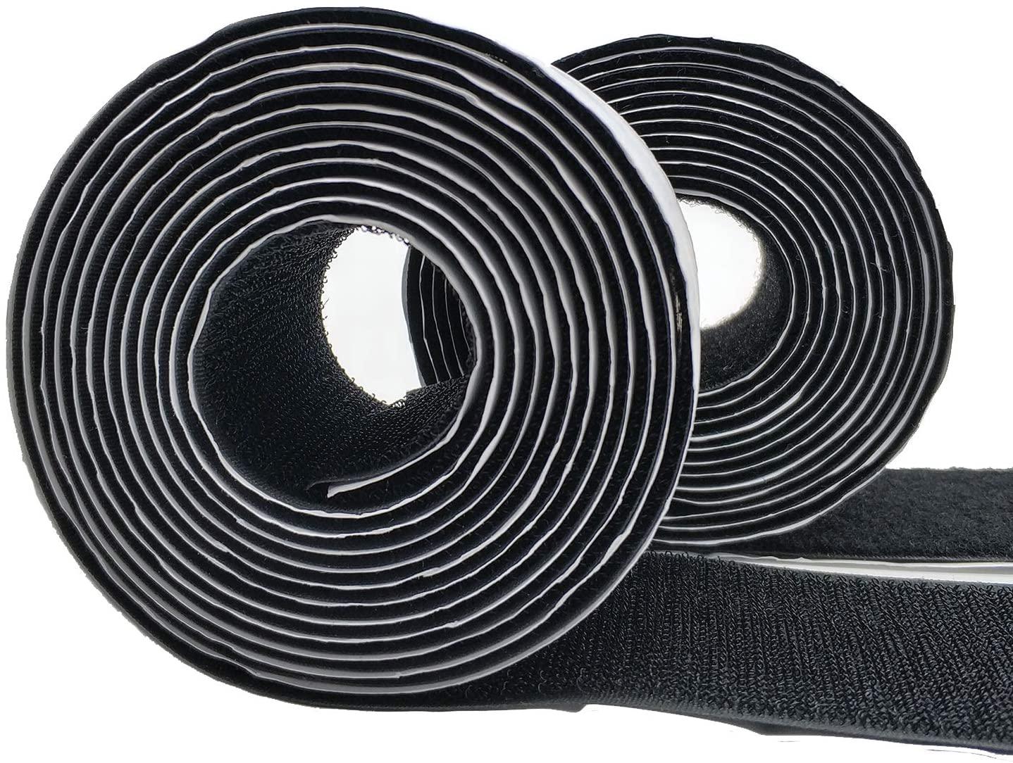 Eroilor 2.5 Meter (8.2 ft) Long 50mm (2 inch) Width Hook and Loop Tape Self-Adhesive Tape - Black