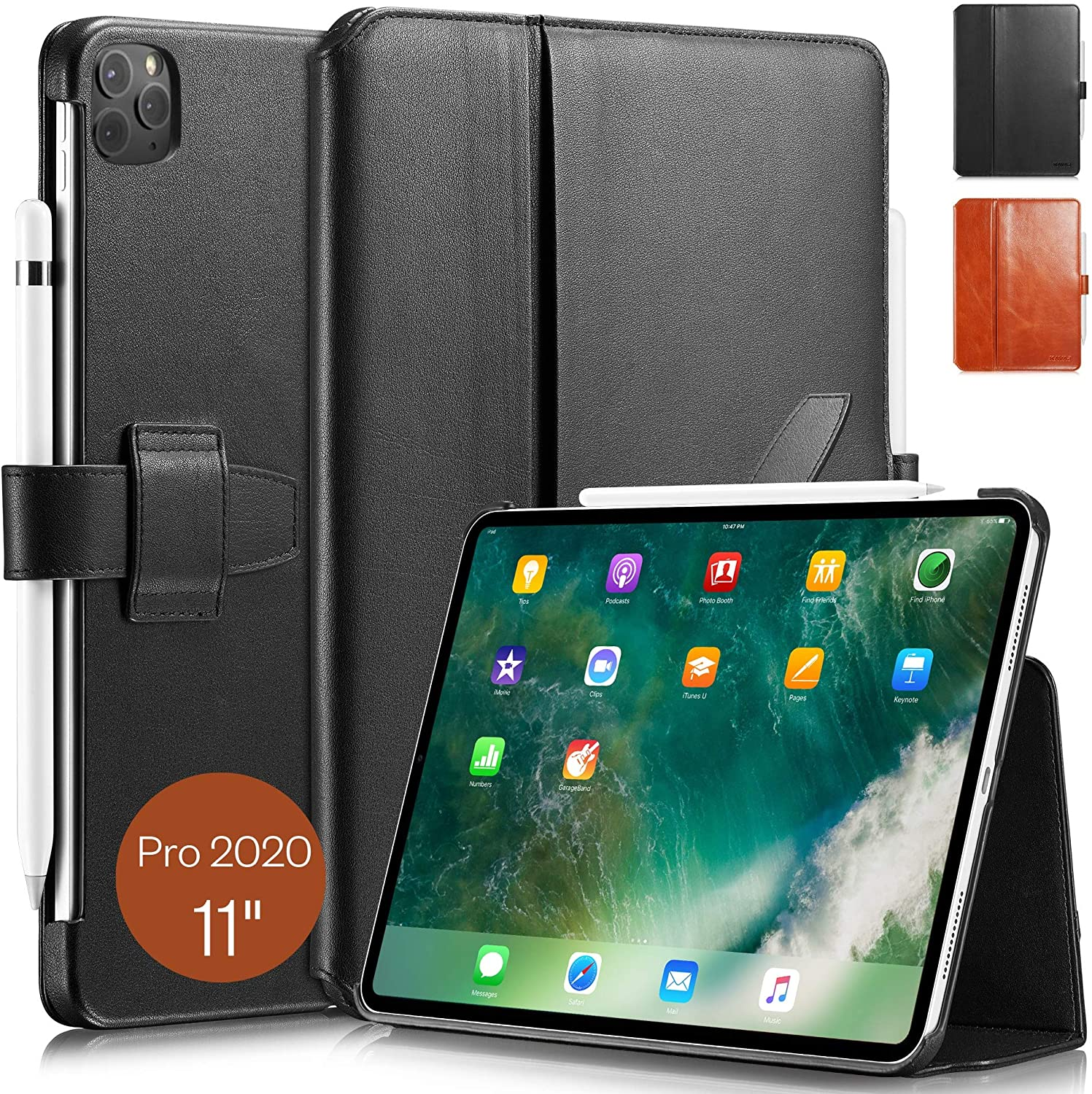 KAVAJ Case Leather Cover London Works with Apple iPad Pro 11