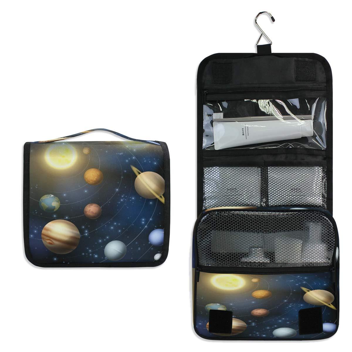 YVONAU Hanging Toiletry Bag Galaxy Solar System Planet Portable Travel Cosmetic Makeup Bag Bathroom Shower Shaving Kit Organizer Bag for Men Women