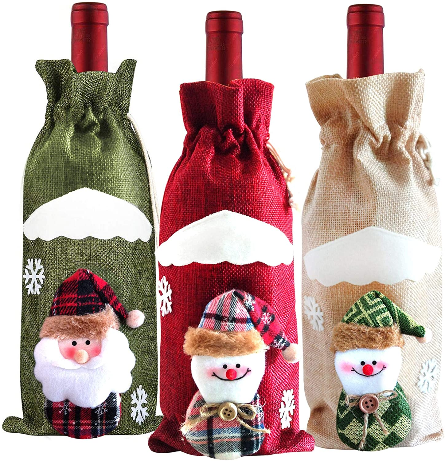 Grier Set of 3 Jute Burlap Wine Bags Drawstring Covers Gift Accessory,Wine Bottle Gift Bags for Christmas Party Decor