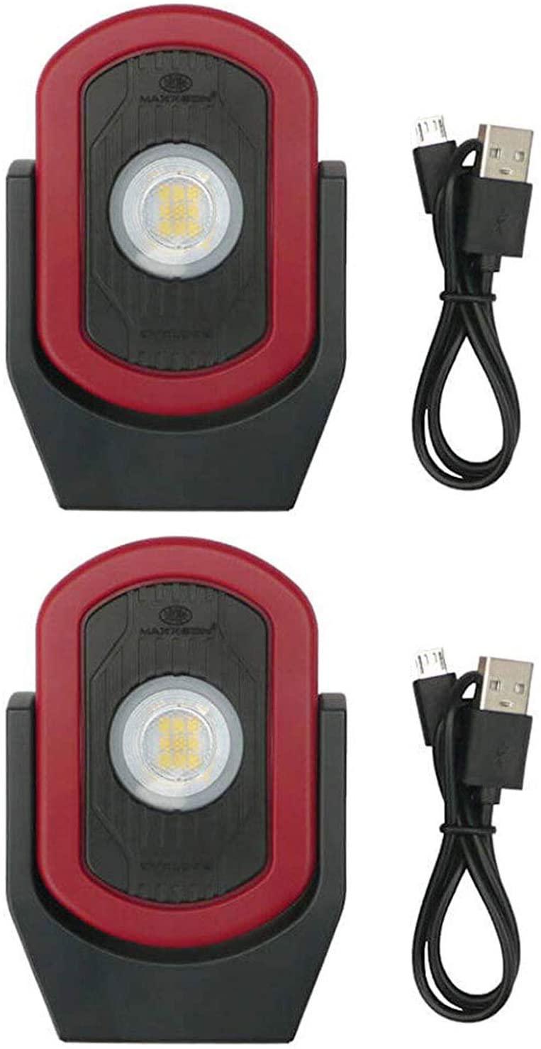 Maxxeon MXN00810 WorkStar Cyclops USB Rechargeable LED Work Light, Red (2 Pack)