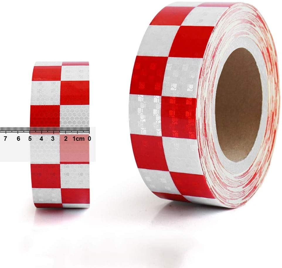Xcq Reflective Tape Red and White Grid Strip Warning Traffic Film Truck Body with Safety Eye-catching Luminous Stickers Engineering Warning Stickers (5cm20m)