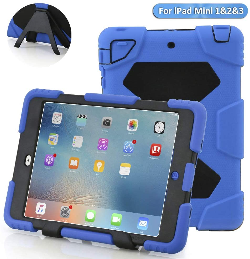 Ipad Mini case,ACEGUARDERipad Mini 2 case,ipad Mini 3 caseSlim Military-Duty Case for Rainproof Shock Proof Anti-Dirt Drop Resistance Case with Back Clip for Apple Ipad Mini 2/3 (Blue-Black)