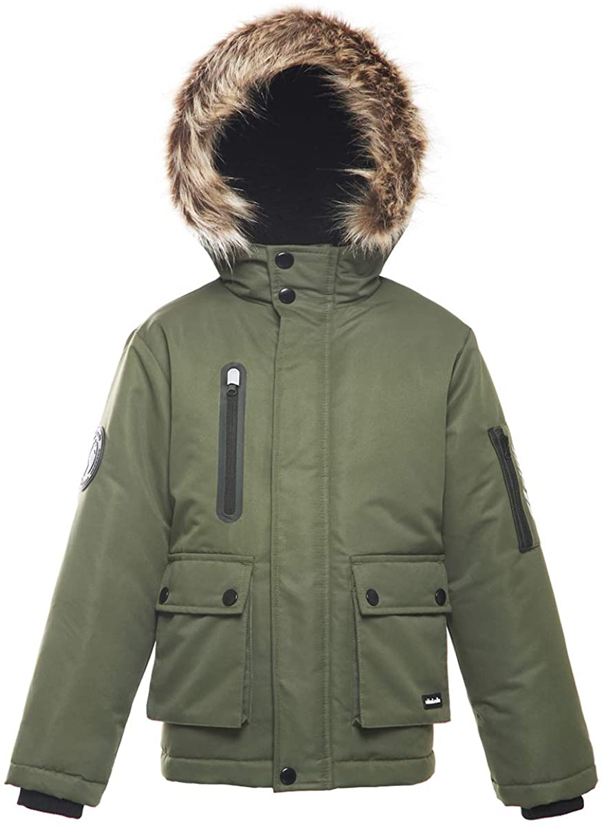 Boys' Water-Resistant Hooded Heavy Padded Winter Coat Lined Thickened Insulated Parka Anorak Puffer Jacket