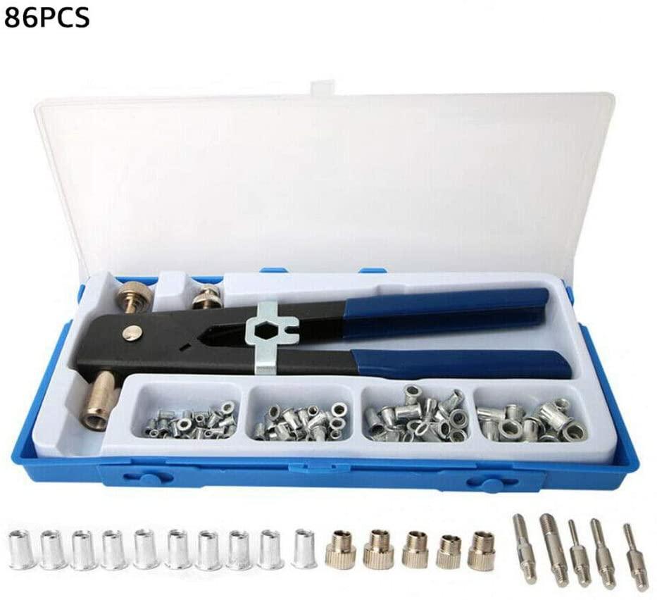 Sugar_Shopping 86pcs Rivet Nut Gun Nut Setter Kit Hand Riveter Rivnut Setting M3 M4 M5 M6 M8 Riveting Insert Drill Electric Cordless Riveter Hand Adapter