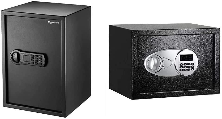 DHgateBasics Home Keypad Safe - 1.8 Cubic Feet, 13.8 x 13 x 19.7 Inches, Black - 50SAM & Steel, Security Safe Lock Box, Black - 0.5 Cubic Feet