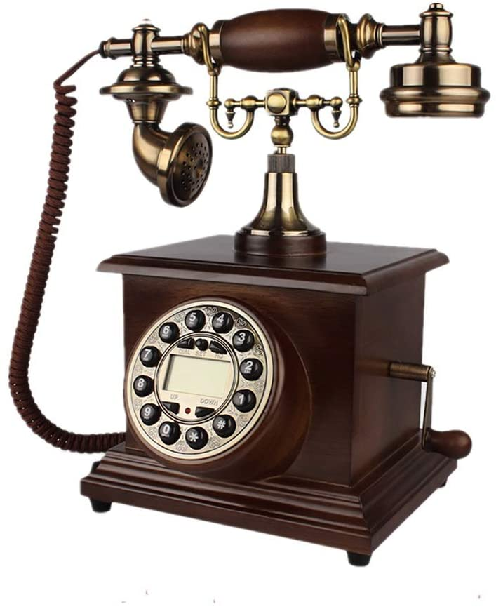 LIUBUO Old-Fashioned Phone Retro Button with Rope Fixed Landline Backlight Hands-Free Caller ID Mechanical Ringtone One-Click Replay Query Clock Display for Office Home, Red