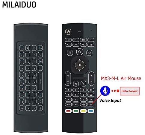 Calvas MX3-M-L Portable 2.4G Fly Air Mouse Backlight with Voice Wireless Keyboard Controller Air Mouse for Smart TV box Projector HTPC - (Color: RU mic with backlit)