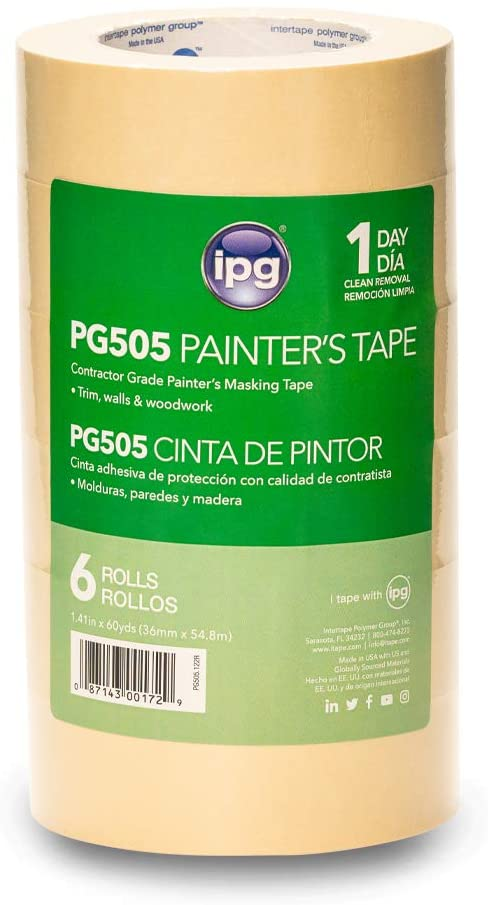 IPG 122R PG505 Masking Tape, 1.41 x 60 yd, (6-Pack), Tan