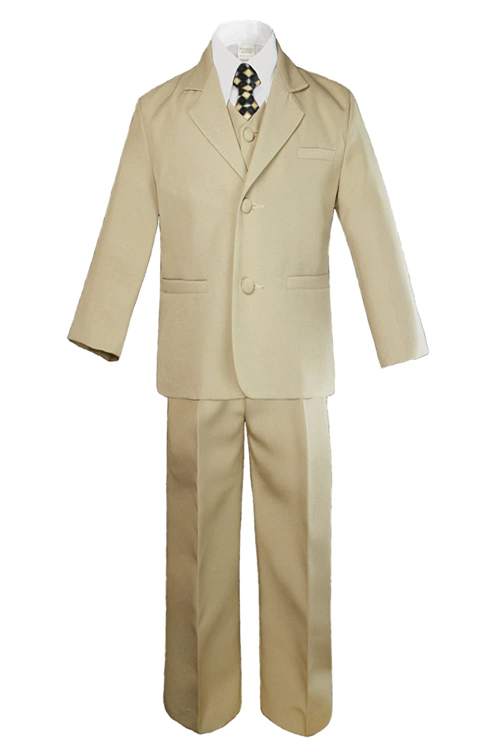 6pc Boys Khaki Tuxedo Suits with Satin Geometric Necktie from Baby to Teen (8)