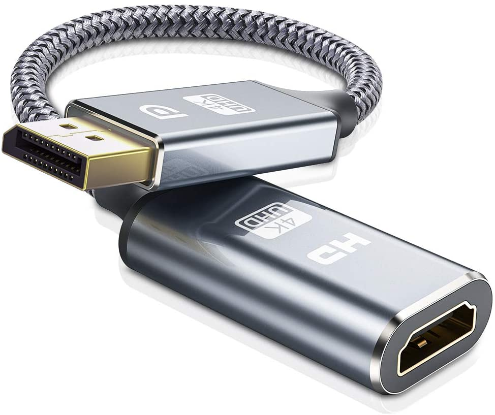 DisplayPort to HDMI Adapter, Capshi [4K@30HZ] DP Display Port to HDMI Converter Male to Female Gold-Plated DP to HDMI Adapter Compatible with HP, HDTV, ThinkPad, Monitor, Projector, Desktop- Grey