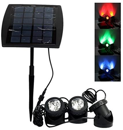 Chuxu LED Solar Powered Submersible Outdoor Lamps RGB Color Changing Landscape Ambiance Lighting for Outdoor Garden Pond Pool Underwater Decoration