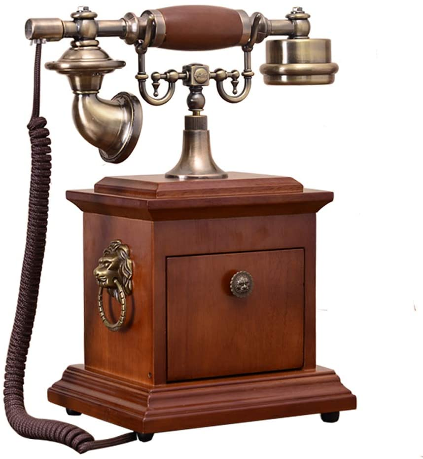 1921 Cable - Model D -Vintage Phone/Retro Telephone with Wood and Metal Body, Functional Rotary dial and Classic Metal Bell