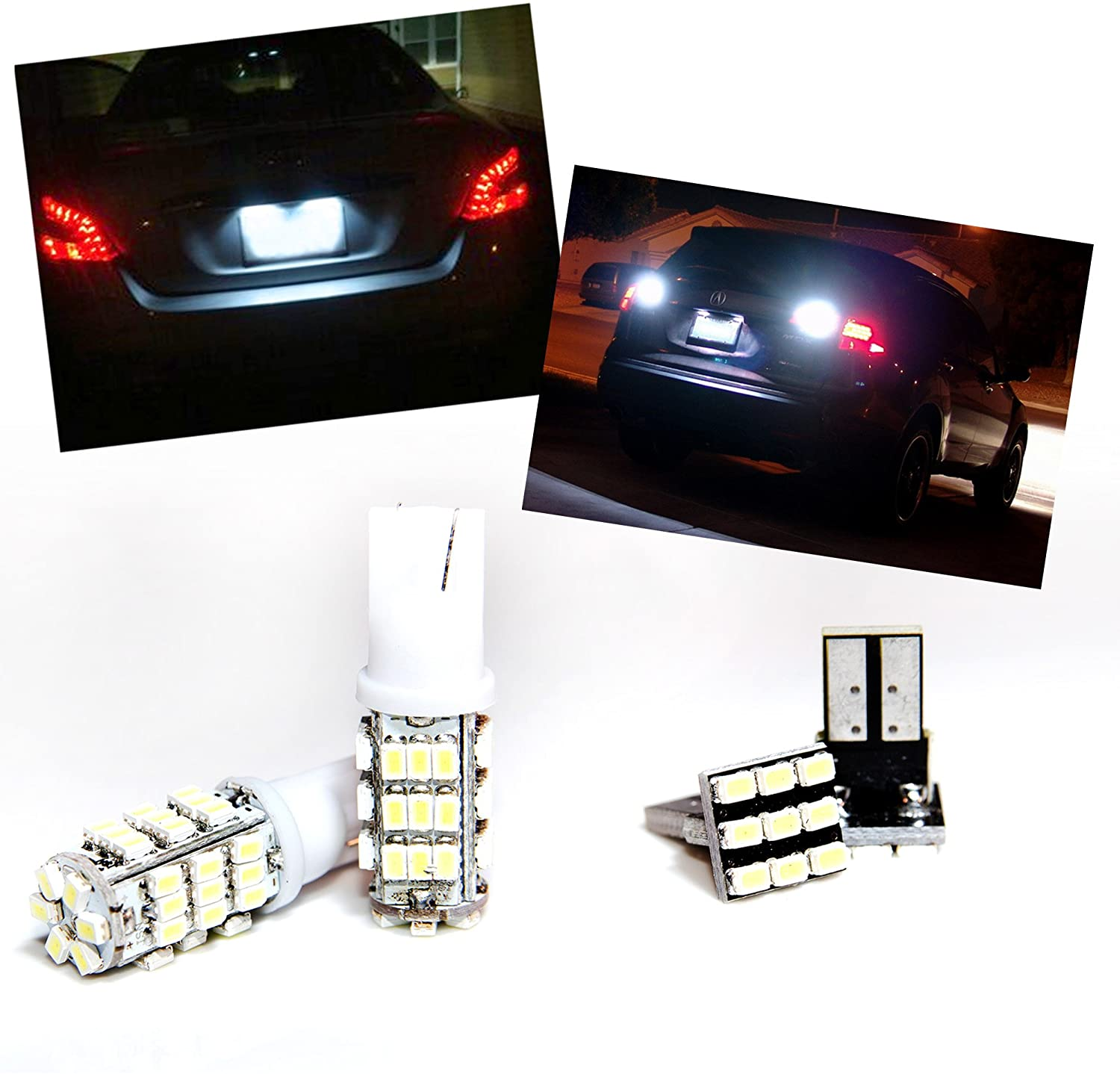TGP T15 White 42 LED SMD Wedge Reverse/Backup Light Bulbs and License Plate LED Pair 2008-2013 Compatible with Subaru Impreza (No Wagon)