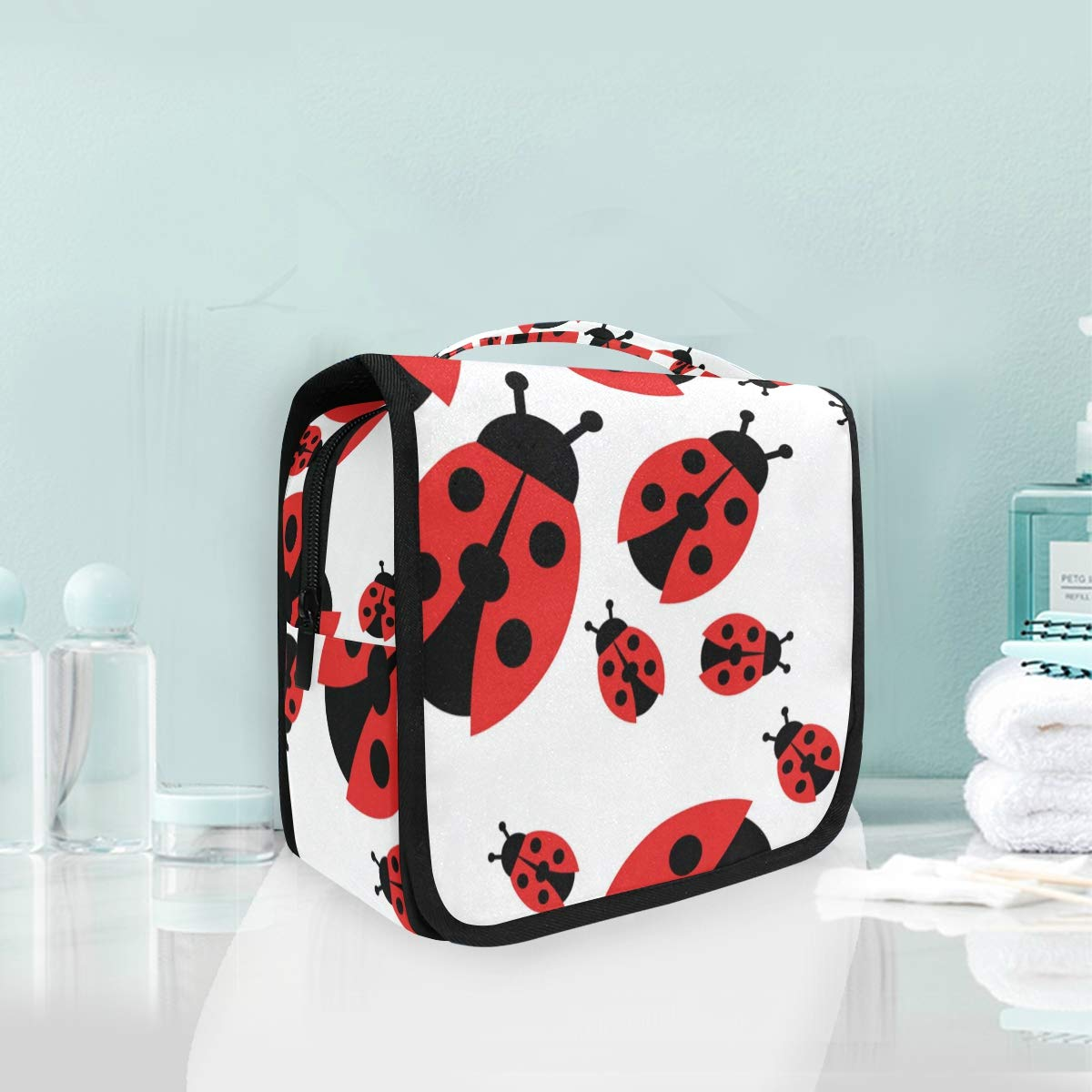ZZAEO Ladybird Seamless Ladybug Pattern Hanging Toiletry Bag - Large Capacity Women Travel Business Cosmetic Organizer Portable Makeup Pouch with Sturdy Hook