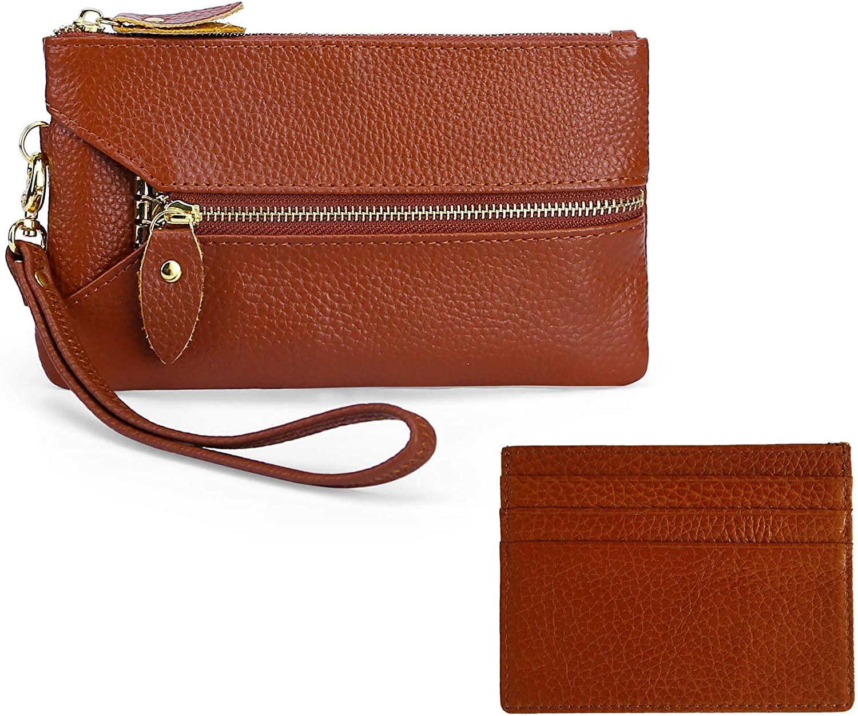 Rejolly Wristlet Wallets Clutch Purse Genuine Leather Cellphone Phone Holder Key Case Card Organizer