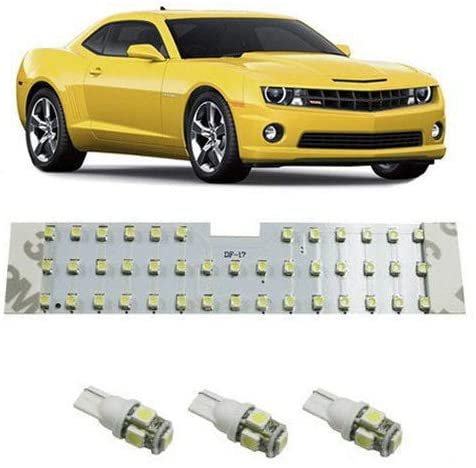 iJDMTOY 4PCS 57-Diode Exact Fit Full LED Light Package Compatible With 2010-2015 Chevrolet Camaro Interior Map Dome Light, Trunk Area Light and License Plate Lights, Xenon White
