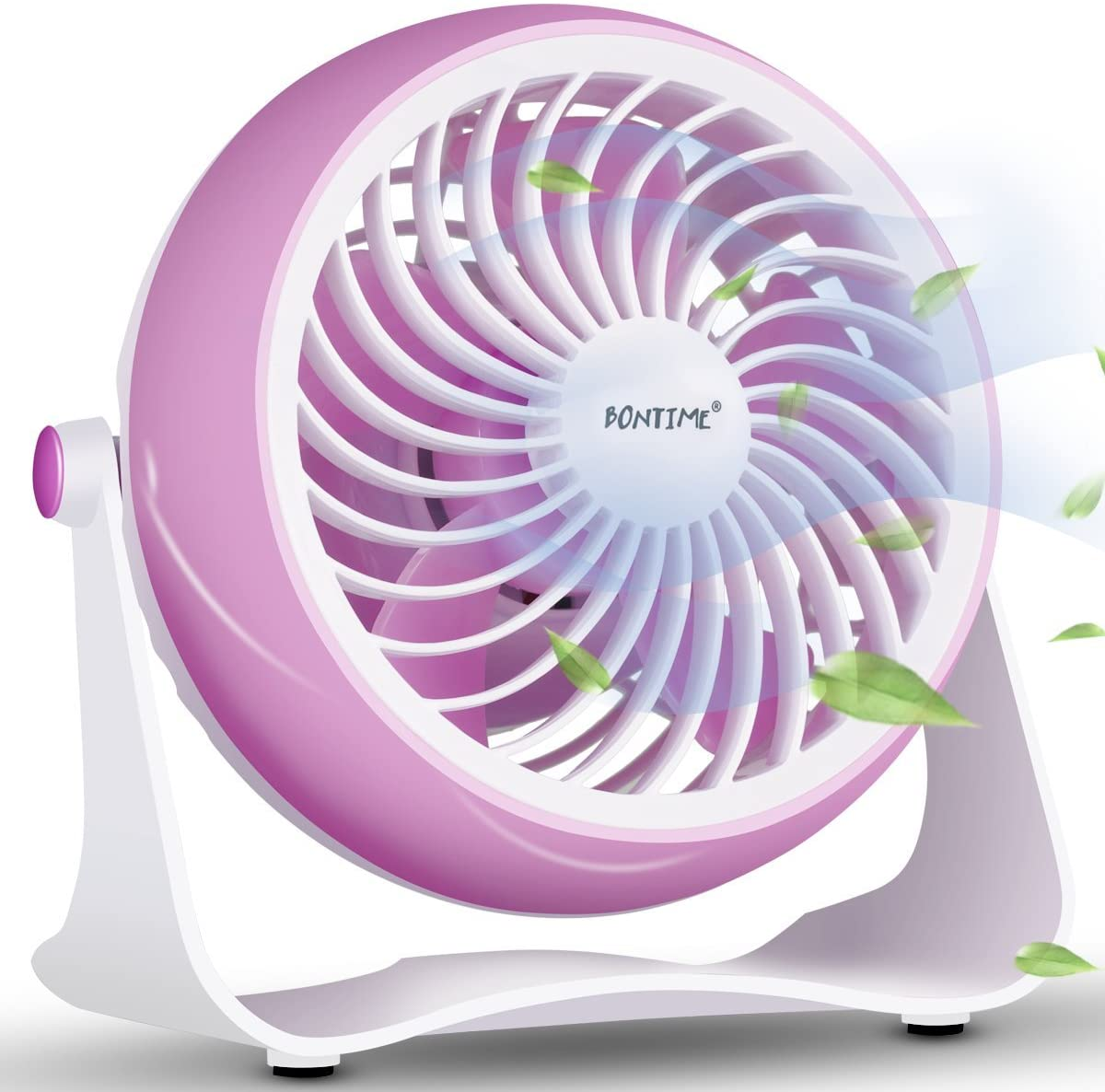 BONTIME Mini Desk Fan - Desktop Personal Fan, USB Powered Fan with Adjustable Tilt, Brushless Motor Perfect for Any Desktop Area, 4 Inches (Light Pink)