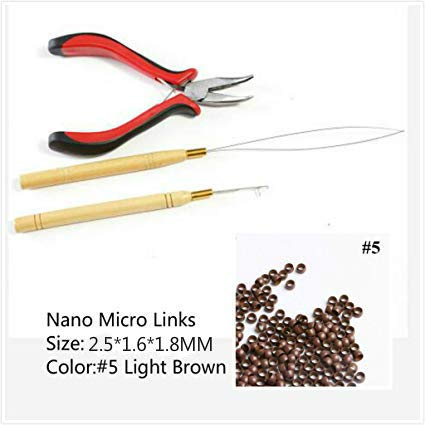 Hair Extensions Tool kit 1Pc Pliers 2Pcs Pulling Hook Loop Needle 200Pcs Micro Nano Rings for Link Hair and Feather Hair Extensions (#5 Brown)