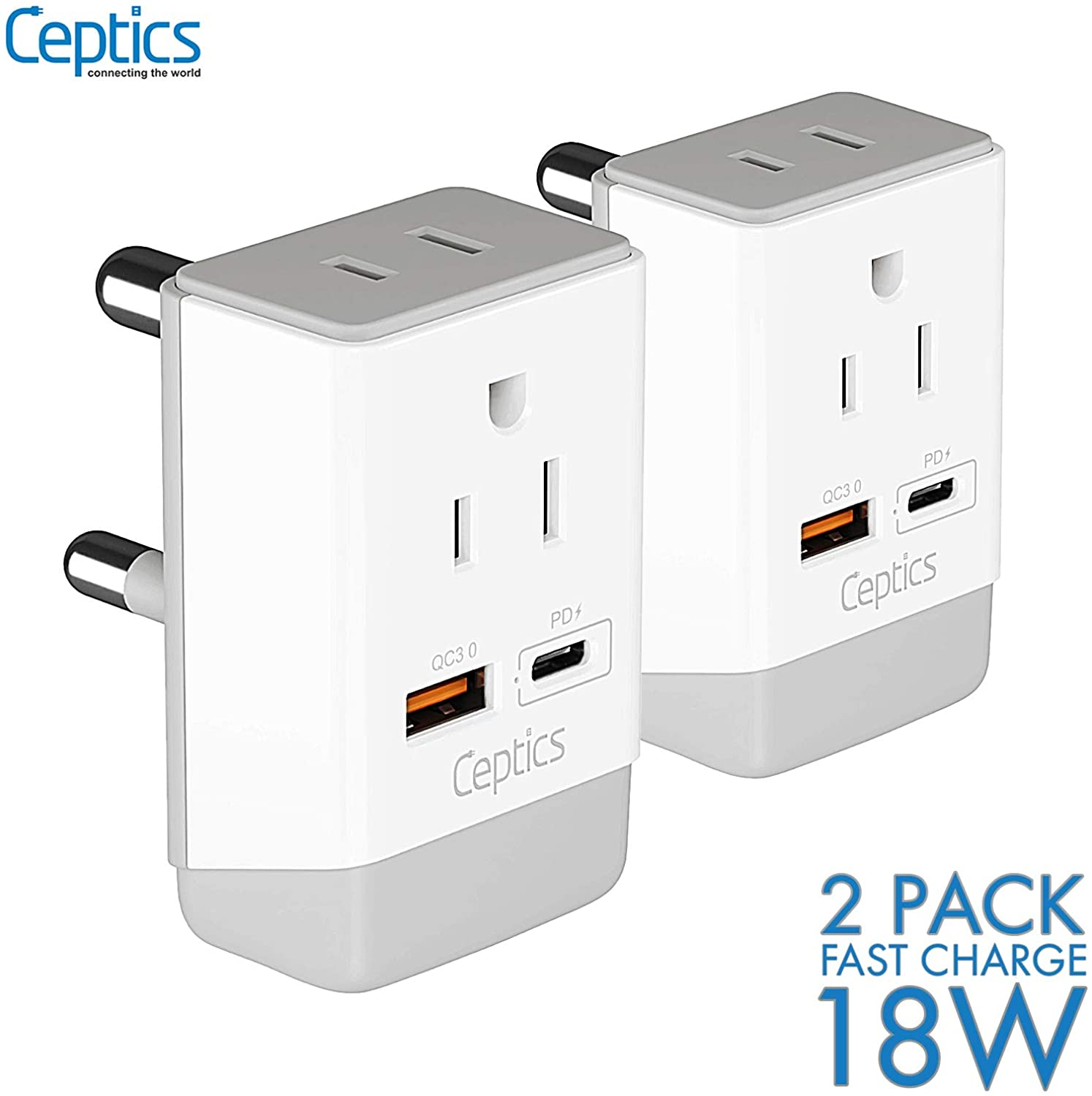 South Africa Travel 2 Pack Plug Adapter QC 3.0 & PD by Ceptics, Safe Dual USB & USB-C - 2 USA Socket Compact & Powerful - Use in S. Africa Botswana - Type M AP-10L - Fast Charging