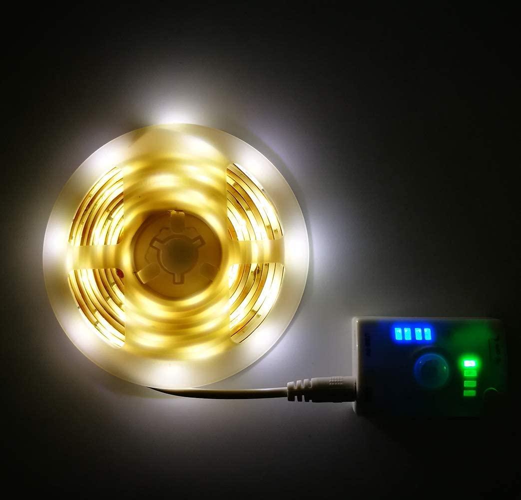 INQUIRY LED Strip Lights USB Rechargeable 9.9Ft Motion Sensor Warm White Wardrobe Under Cabinet Kitchen Closet Pantry Lighting