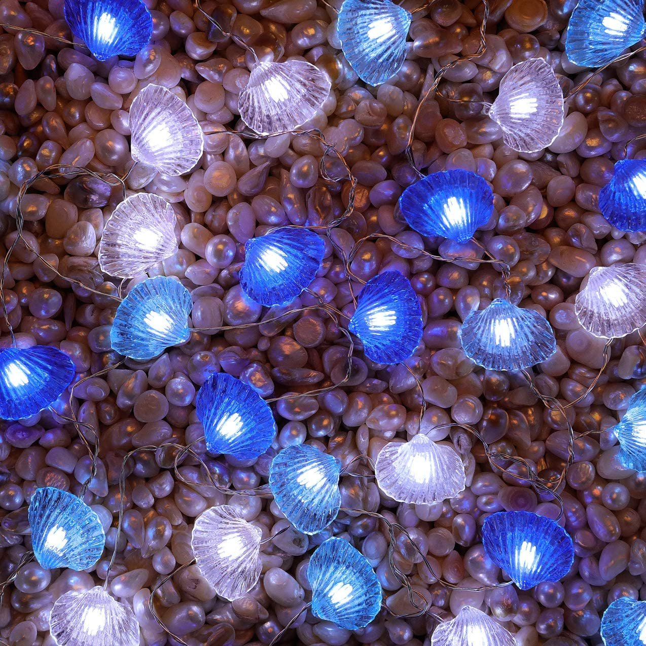 SFgift Seashell 40 LED String Lights 13.5ft Battery Operated Waterproof Cold White with Remote Control and Timer for Wedding Nursery Bedroom Party Birthday Ornament
