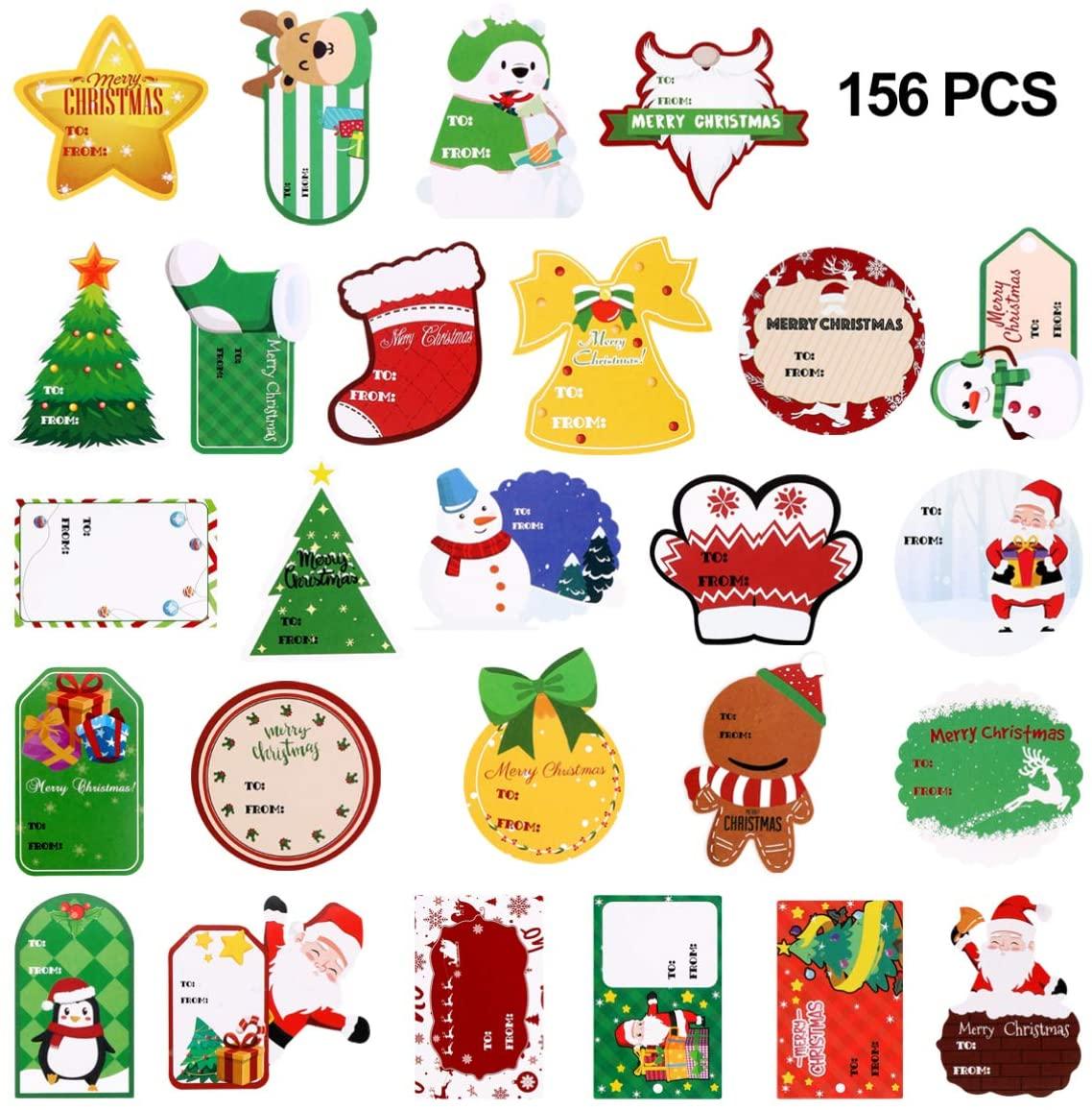 KESYOO 156PCS Tag Stickers 26 Sheet Self Adhesive Xmas Tag Stickers Snowmen Name Tag Stickers for Festival Presents Labels Decals, Christmas Holiday Decor
