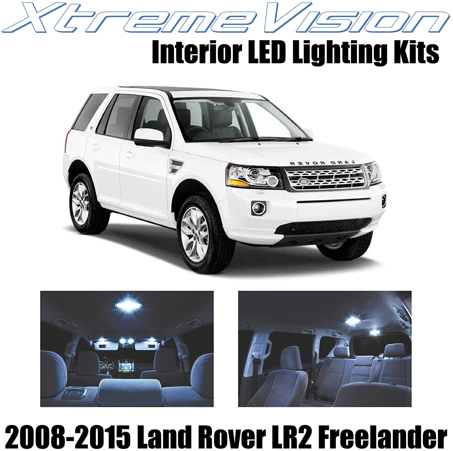 XtremeVision Interior LED for Land Rover LR2 Freelander SUV 2008-2015 (8 Pieces) Cool White Interior LED Kit + Installation Tool