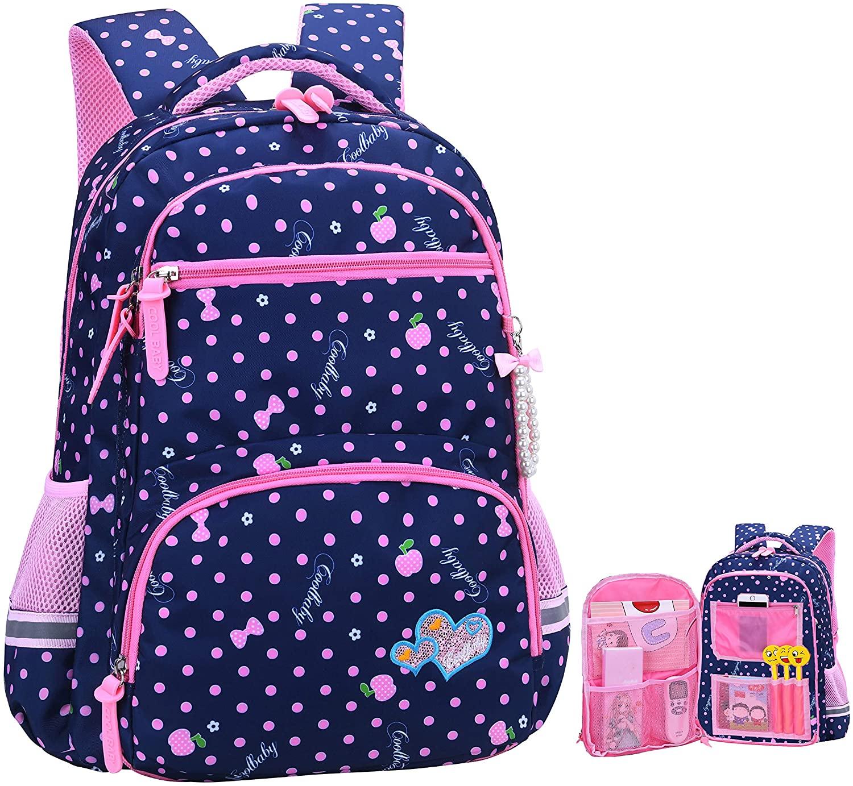 Girls Backpacks for Elementary, Polk Dots School Bag for Kids Primary Bookbags (Girls Backpacks for Elementary Navy Blue, Large for Grade 3-6)