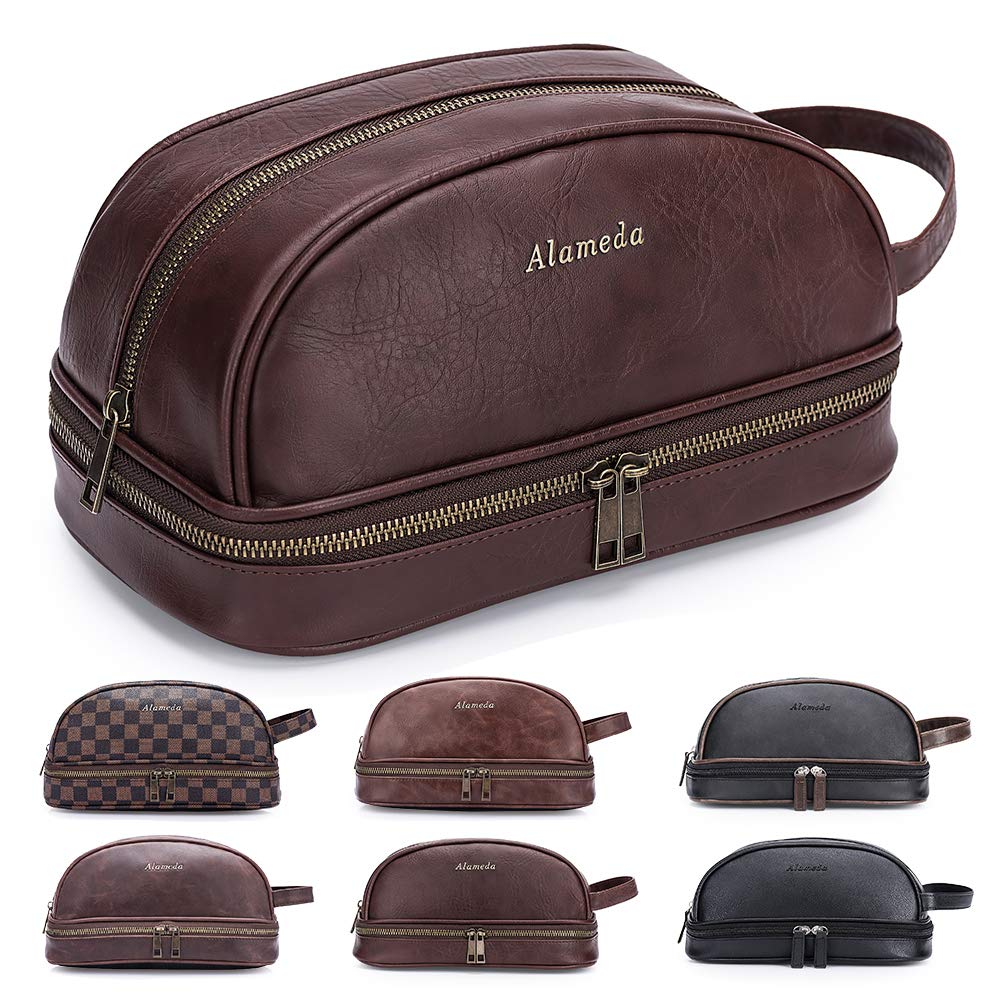 Semary Leather Toiletry Mens Bag Shaving Case Bags with Lots Pockets Plenty Space Large Compartments Durable Design Travel Pouch Dopp Kit for Men Women - Brown