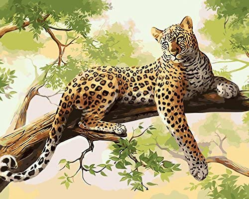 TianMai Version 3.0 HD Paint by Number Kits for Adults PBN Kit Paintworks Digital DIY Oil Painting Canvas Kits for Children Kids Beginner White Christmas Decorations Gifts - Leopard (N14, No Frame)