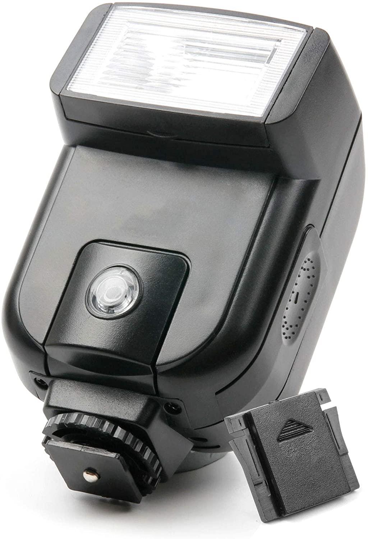 DURAGADGET Professional Hot Shoe Mount Tilting SLR Camera Flash + Black Plastic Cover - Compatible with Nikon D600 | Nikon D610 | Nikon D700 | Nikon D7000 | Nikon D7100
