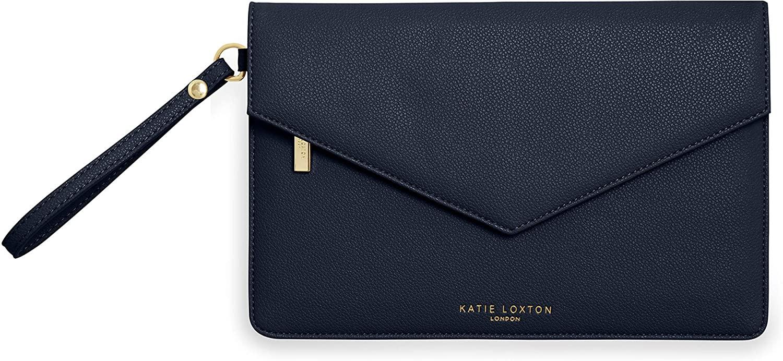 Katie Loxton Esme Womens Vegan Leather Envelope Clutch Wristlet Bag Navy