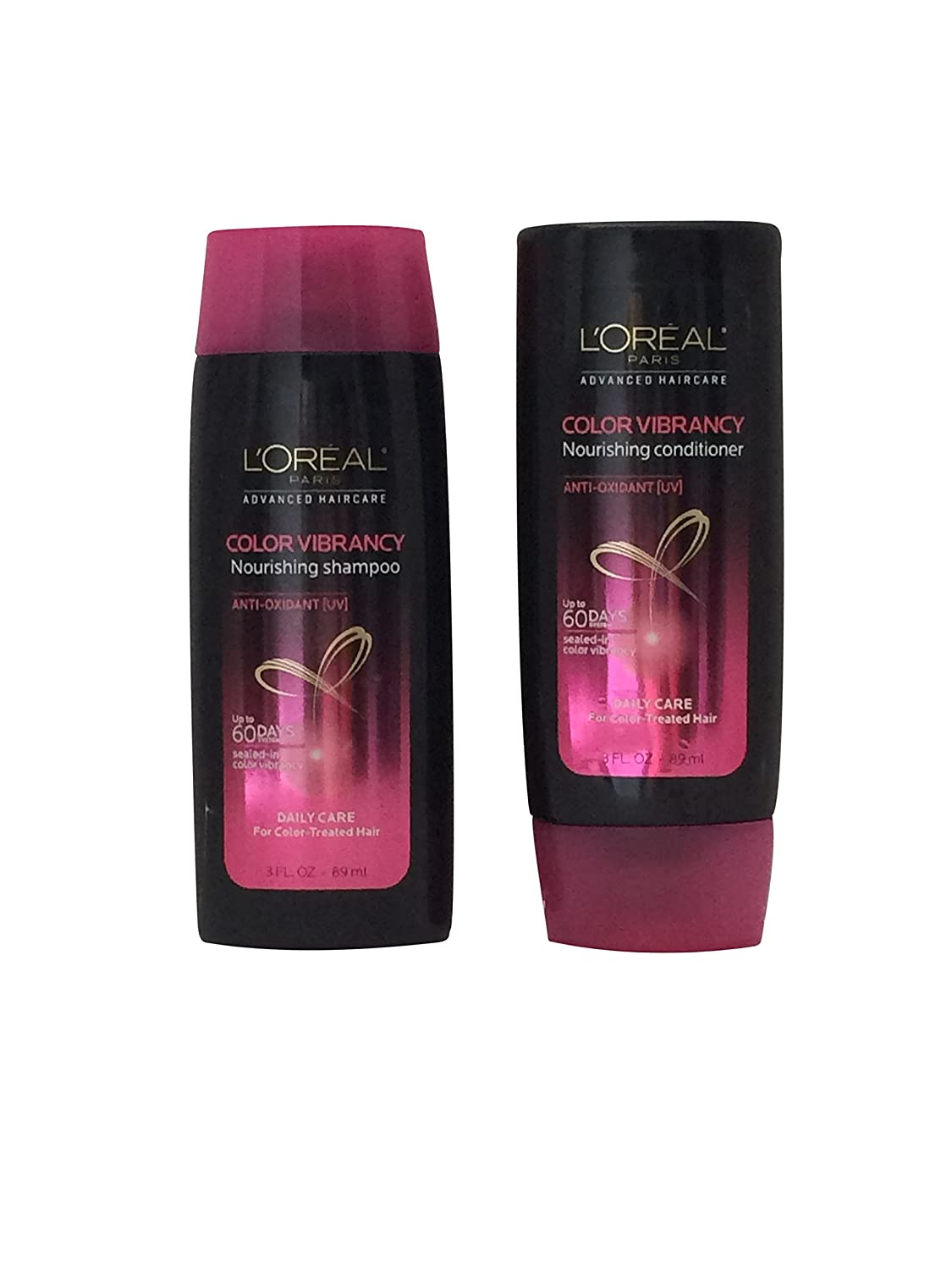 Loreal Paris Color Vibrancy Nourishing Shampoo & Conditioner Daily Care for Color-Treated Hair 3 oz Travel Size
