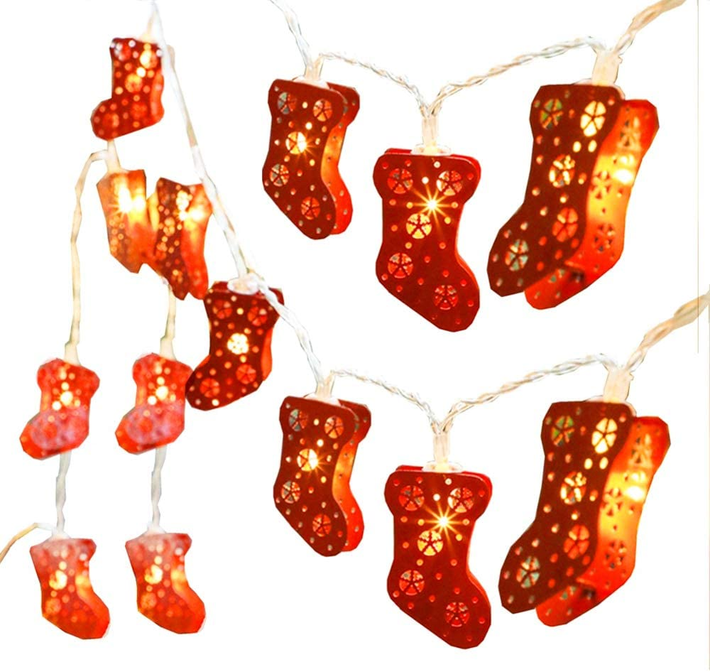 Xmas light of Sock LED Fairy Light, Battery Powered Christmas Sock Shaped String Lights for Wedding,Christmas,Thanksgiving, Party, Wedding, New Year, Valentine's Day[6.5 Feet&20 Warm white Lights]