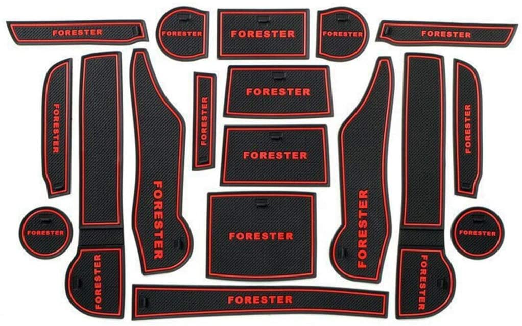 Car Anti-dust Non-Slip Gate Slot mats Kits for New Forester 2019(Red)