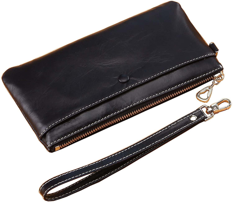 Vogbel Women's Wristlet Leather Clutch Wallet with Strap