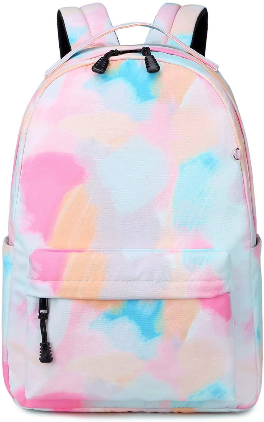 School Backpack for Teens Girls Boys Kids School Book bag fit 15 inch Laptop Travel Daypack (Tie Dye Pink)