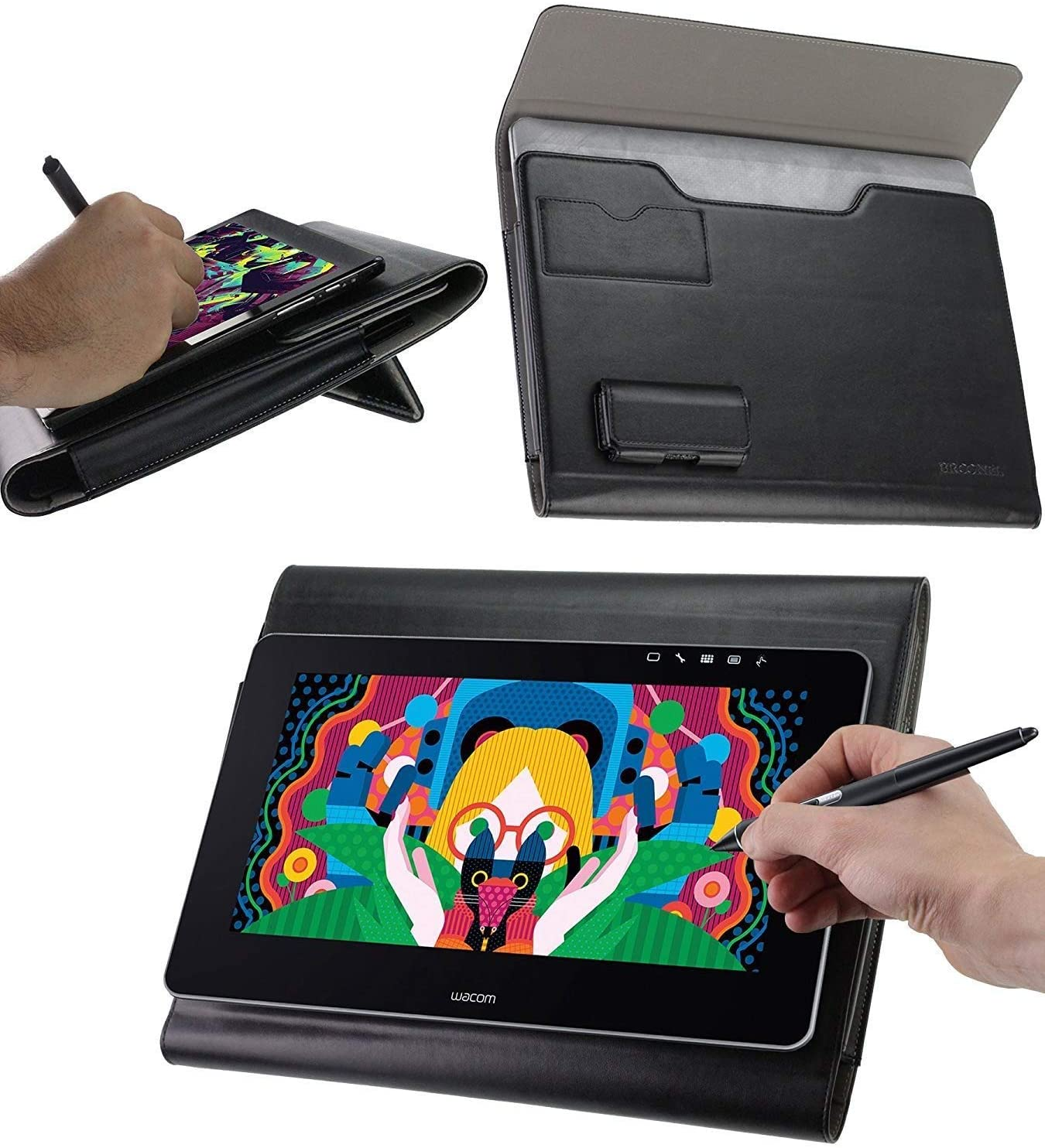 Broonel - Prestige - Black Premium Graphics Tablet Folio Case Cover Compatible with The Grandbeing 12Inch LCD Writing Board Drawing Art Tablet