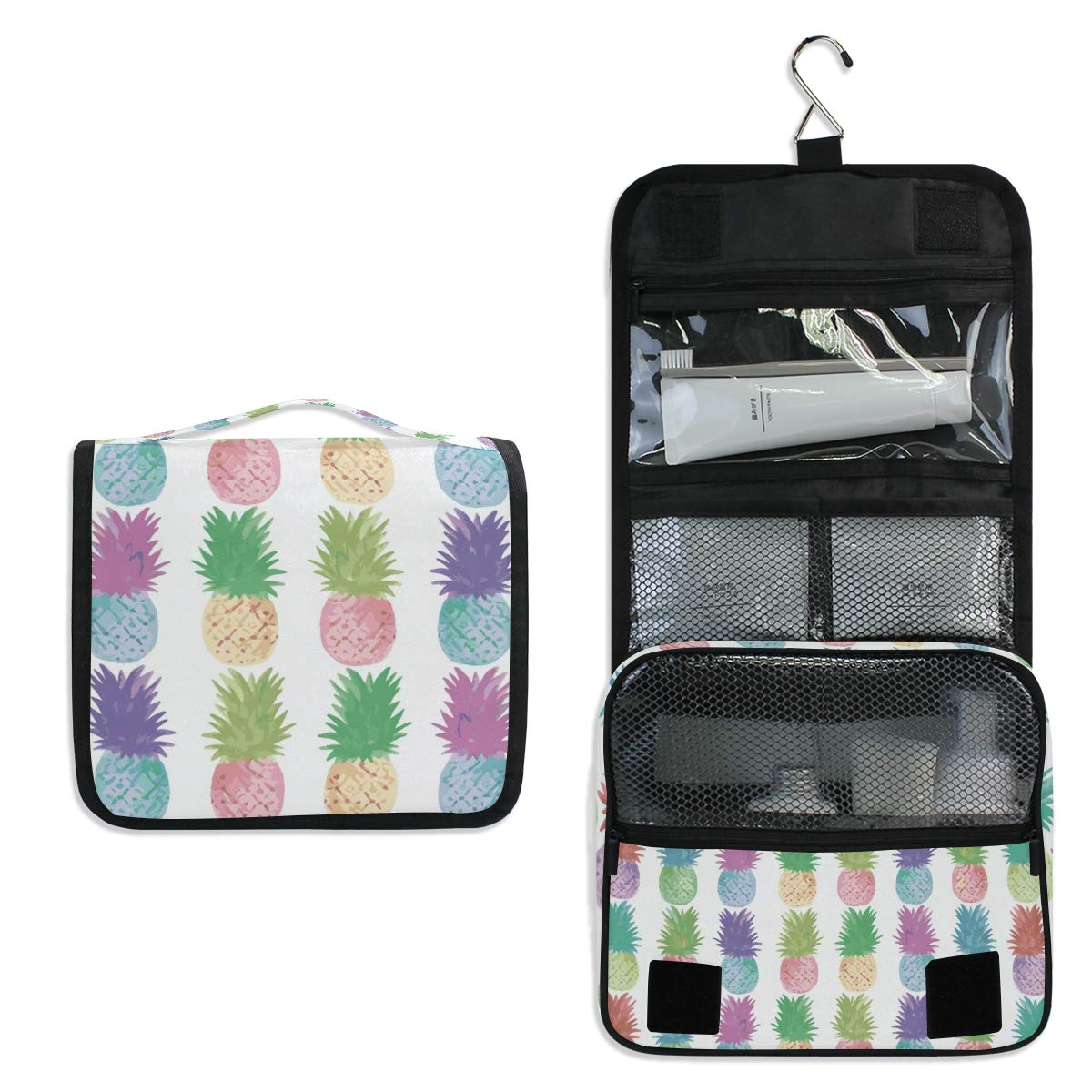 Hanging Travel Toiletry Bag - Summer Fruit Colorful Pineapple Waterproof Cosmetic Bag Portable Makeup Pouch for Toiletries Bathroom