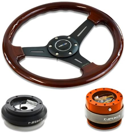 NRG Innovations 13 330mm Deep Dish Style Wood Grain Black Spokes Racing Steering Wheel Combo with 6 Hole Short Hub Adapter with Gen 2.0 Orange Quick Release Kit SRK-110H