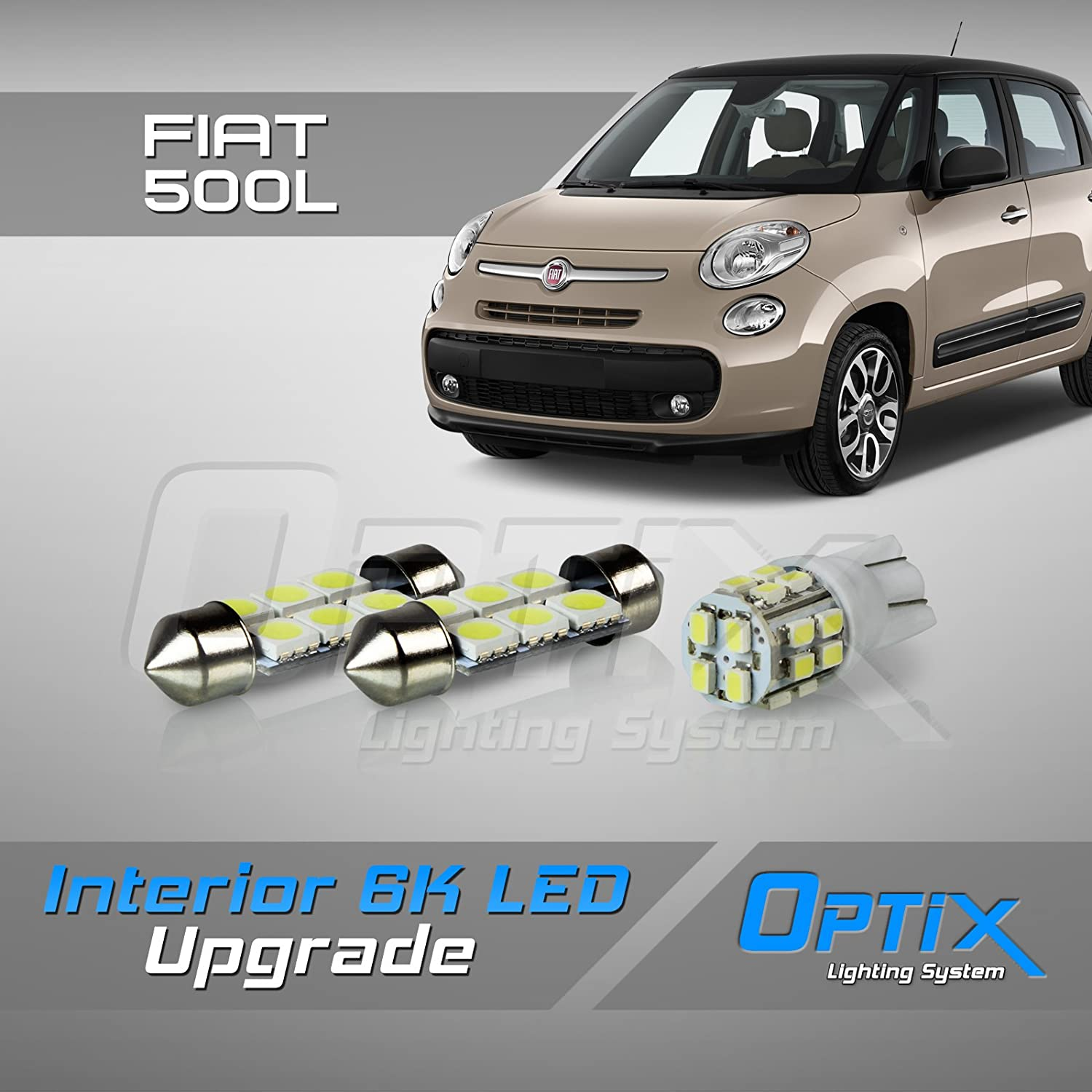 Optix 3pc 2014+ Compatible with Fiat 500L LED Interior Light Package Replacement Set - White