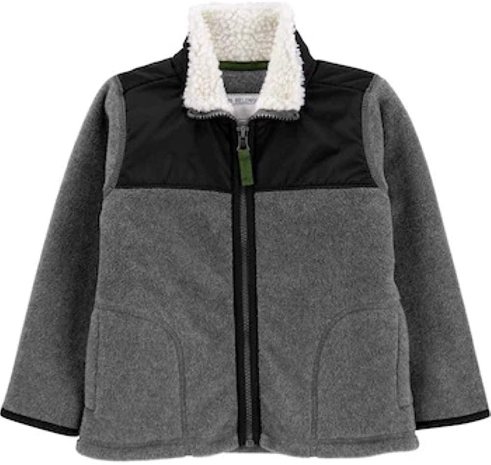 Carter's Toddler Boy Zip-Up Fleece Jacket (4T) Charcoal, Black