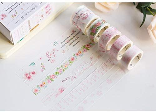 TBblythe 20 Rolls Washi Tape Set Pink Flower Masking Tapes Flowers