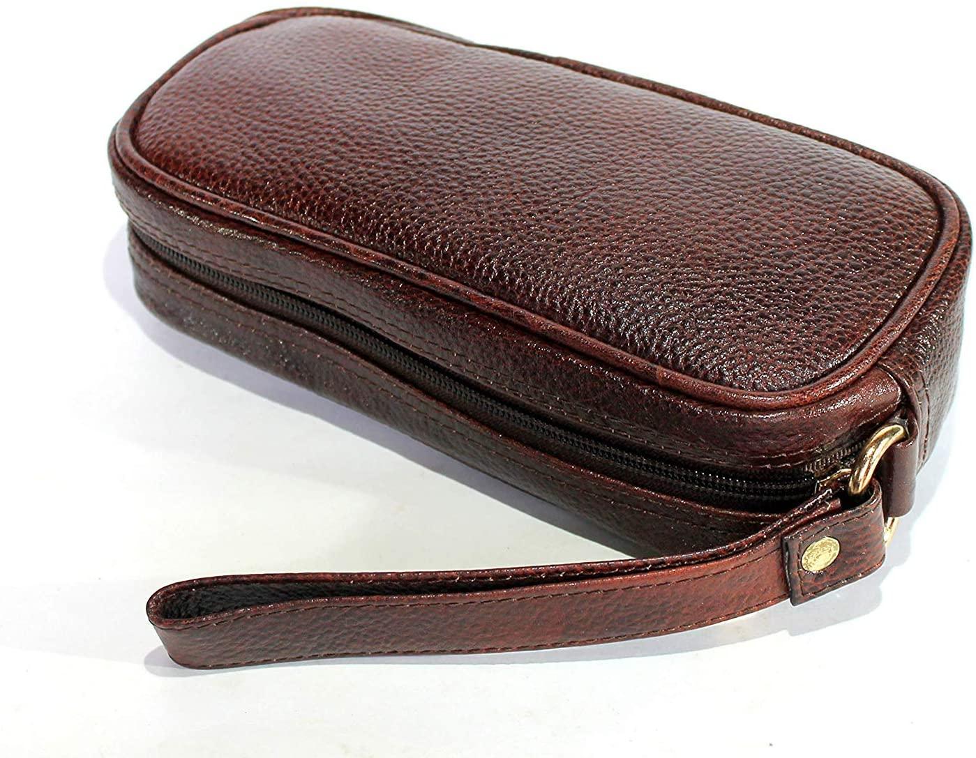 Stonkraft Leather Toiletry Bag Grooming Cosmetic Hygiene Bathroom Pouch Dopp Kit Case Makeup Shaving Kit Hanging Travel Organizer Gift (Brown)