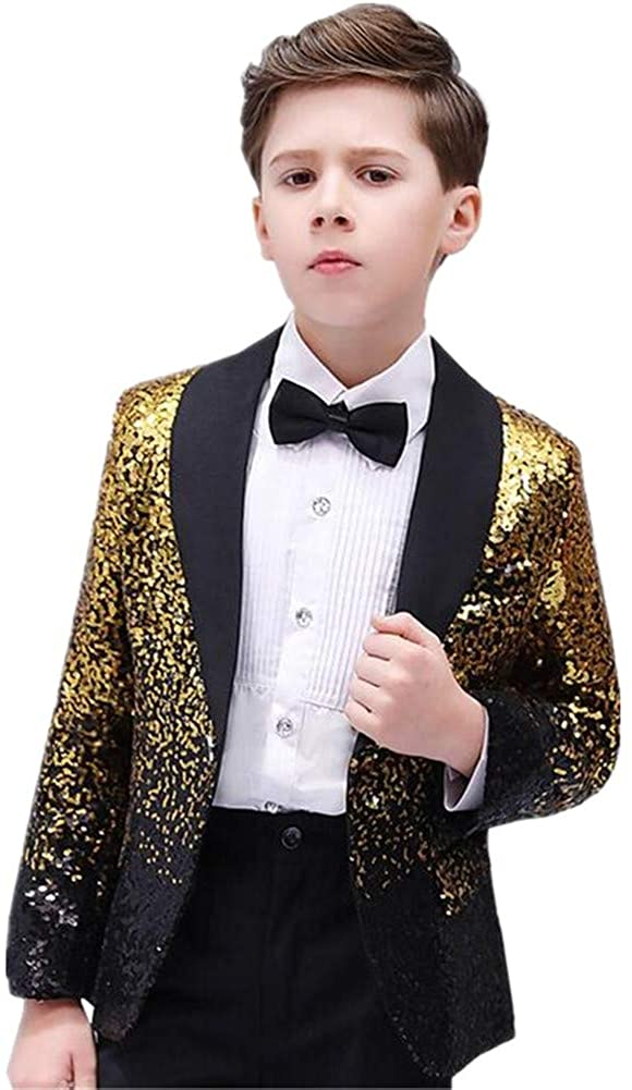 LIBODU 2 Pieces Boy Suits Tuxedo Slim Fit Shiny Sequins(Jacket+Pants) Party Performance