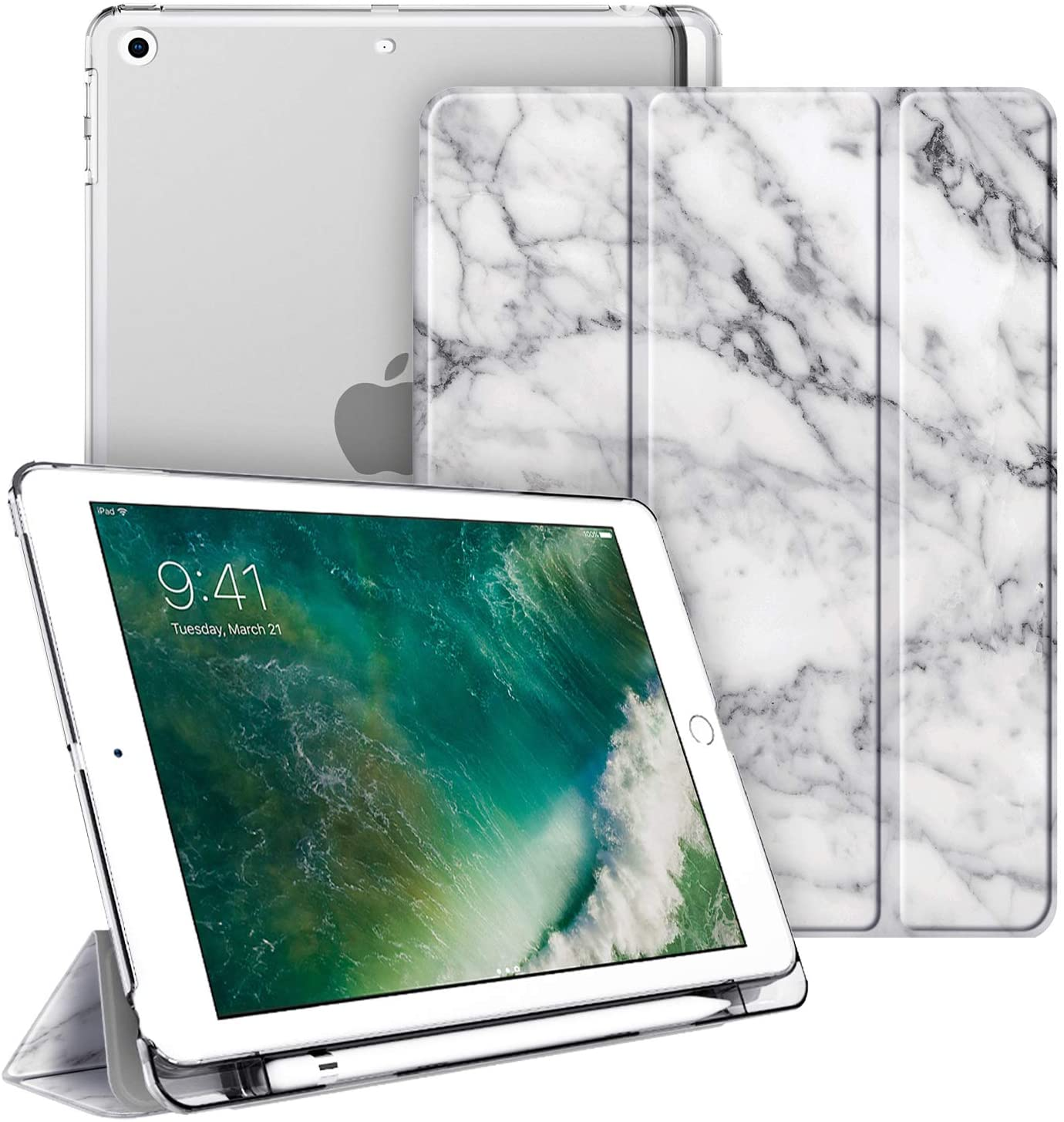 Fintie Case with Built-in Pencil Holder for iPad 9.7 Inch 2018 - Lightweight SlimShell Cover with Translucent Frosted Back, Supports Auto Wake/Sleep for iPad 6th Generation, Marble White